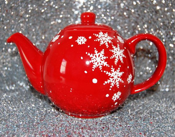 Snowflake red teapot 2 or 4 cup by WhimsicalUK on Etsy, £20.00