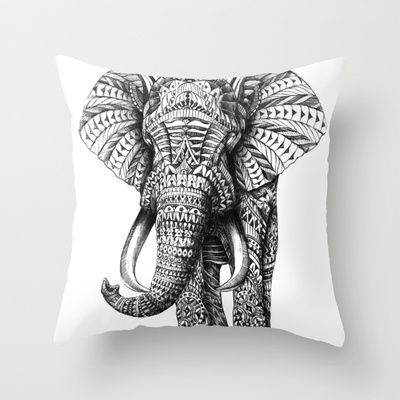 Ornate Elephant Throw Pillow - IDEA = take cool graphic T-Shirts and make pillows!