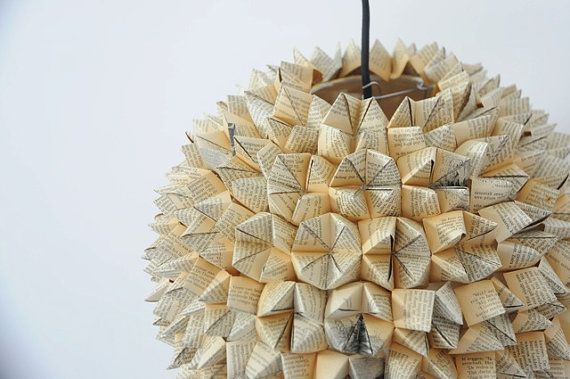 Book Origami Pendant Lamp by SilkandSpoon on Etsy, €119.00