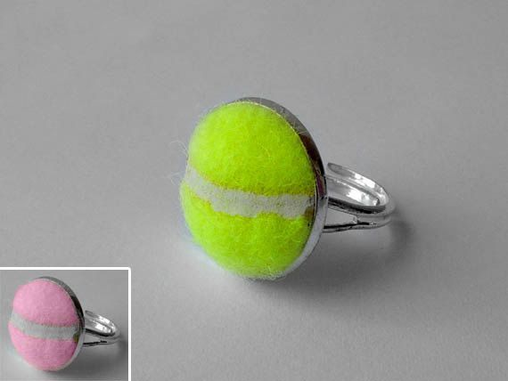 Real Tennis Ball Ring - Handmade Ring From a Yellow or Pink Tennis Ball by SportsCufflinks, $17.99