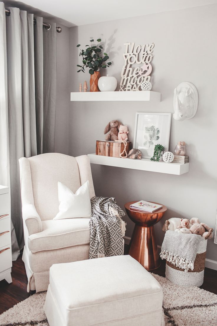 Project Nursery - Nursing Nook in Neutral Girl's Nursery with Copper Accents - Project Nursery