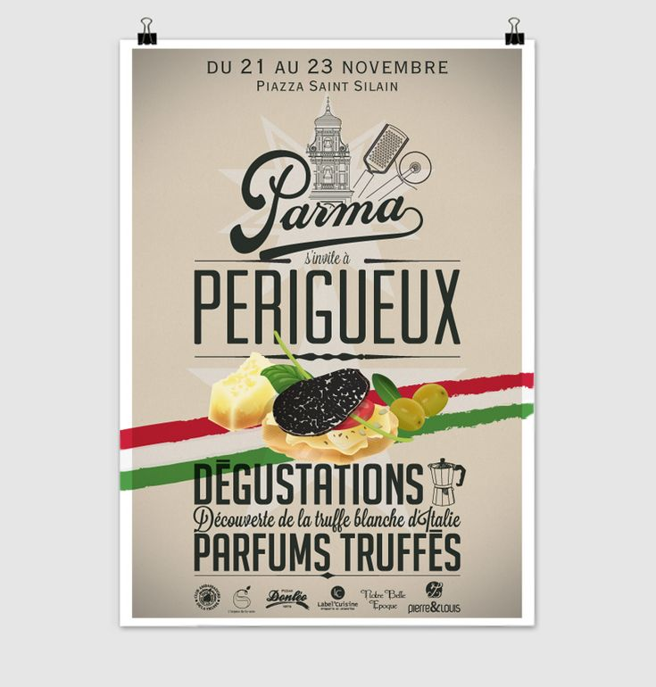 """Réalisation de l'affiche """"Parma s'invite à Périgueux"""" à l'occasion de la semaine du livre gourmand 2014, pour l'agence Pierre&Louis"""