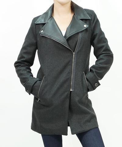 Faux leather collar wool blend coat , Jacket - -, Pinkracks  - 1