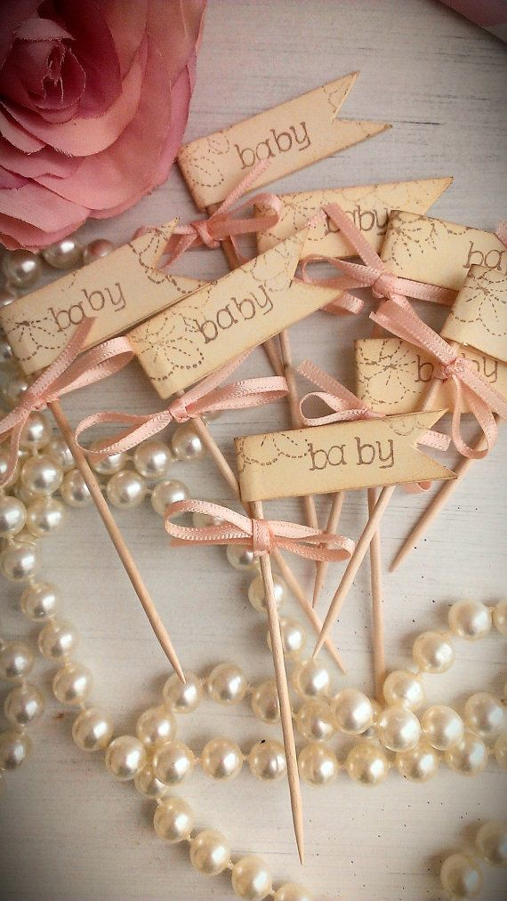 These are adorable!   Baby cupcake picks baby shower cupcake picks cake by LiziLoves, £4.95