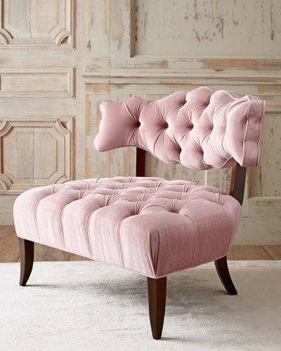 """Wide seat for comfort; button tufting on the back and seat for fashionable appeal. Wood frame with dark-walnut finish. Polyester velvet upholstery. ONLYATNM Only Here. Only Ours. Exclusively for You. Light pink colorway. 35""""W x 30.5""""D x 30""""T; seat, 33""""W x 24""""D x 17.5""""T. Made in the USA of imported materials. Boxed weight, approximately 55 lbs."""