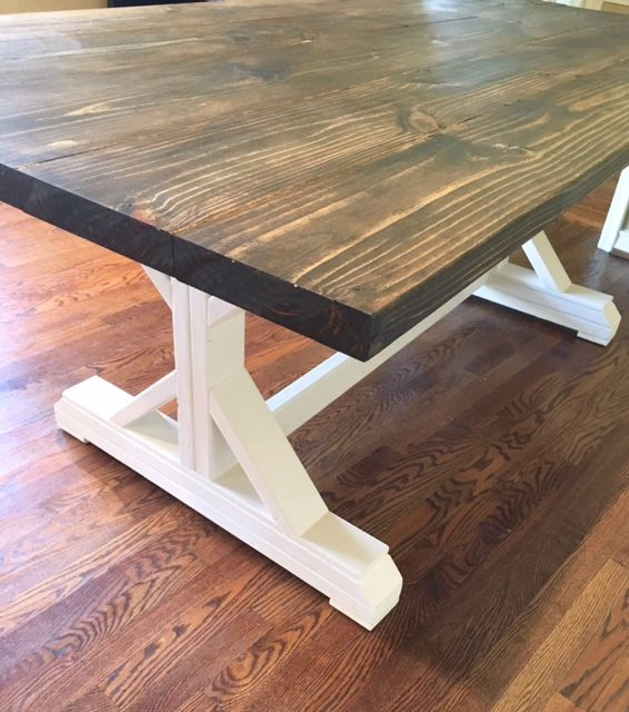 X Frame Farmhouse Table Stained In Minwax Jacobean With Heirloom White On The Base Dining Styles Pinterest