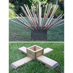 My normal bottle tree consists of a cap, a base, dowels, and a 4x4. Here I have for sale just the cap, base, and dowels - without the 4 x 4. The