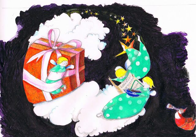 #Illustration #engel #weihnachten #weihnachtsmann #sterne #wolken #himmel #geschenk #dominique kleiner