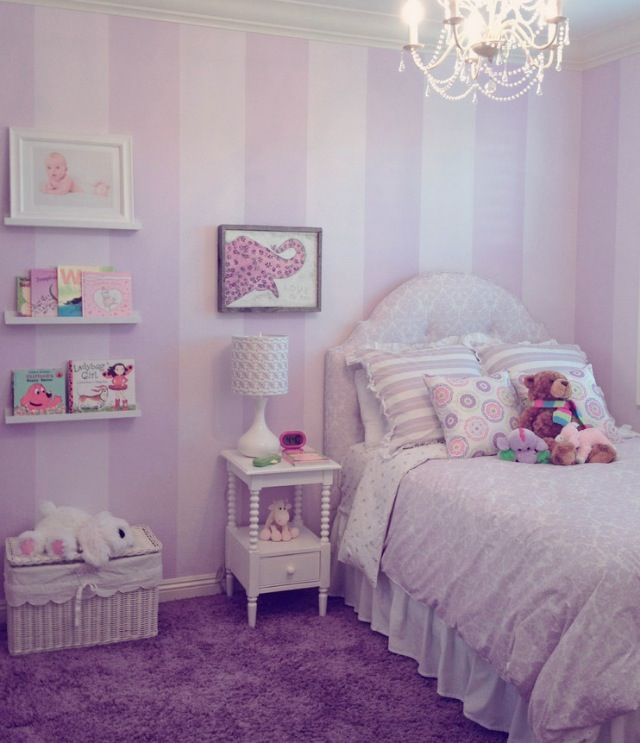 Best 25 pink striped walls ideas on pinterest - Purple and pink girls bedroom ...