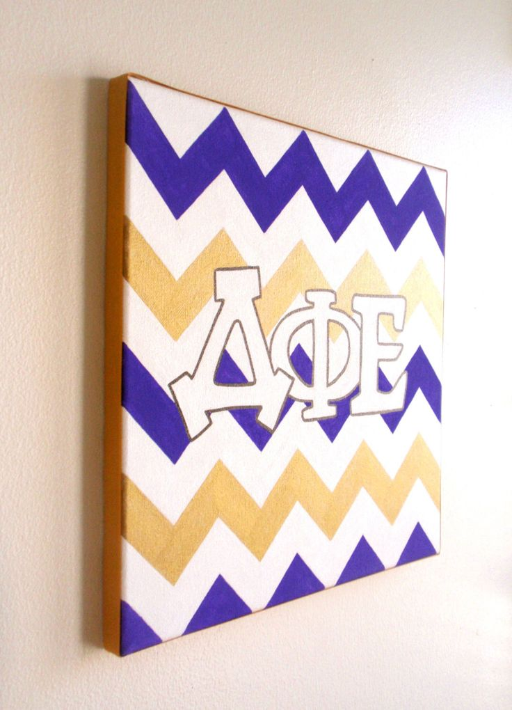 hand painted Delta Phi Epsilon letters outline with chevron background 12x12 canvas OFFICIAL LICENSED PRODUCT by PreppyInPinkUSA on Etsy https://www.etsy.com/listing/155191896/hand-painted-delta-phi-epsilon-letters