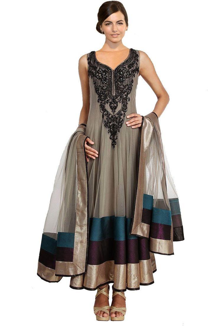 Sleeveless Designer Anarkali Churidar Suit in Black & Gray – USMART NY