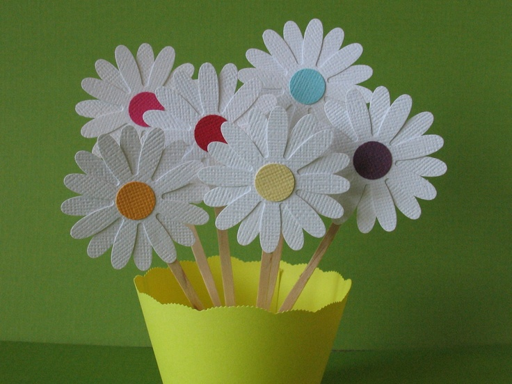 24 Rainbow Centered Daisy Cupcake Toppers by iecreations on Etsy, $12.00