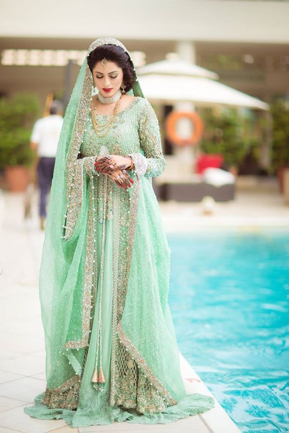 """Gorgeous Sea Green Bridal Lehenga"" Awesome post by @fashion_pick #fashion"