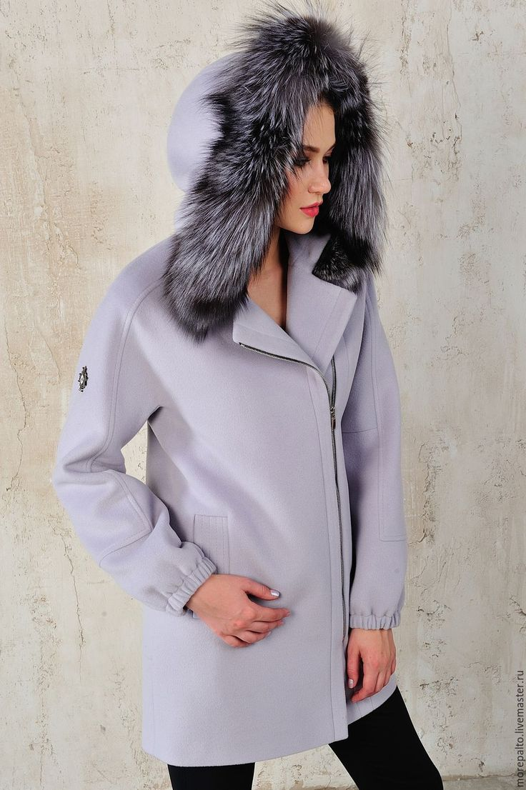 Купить Зимнее пальто с капюшоном с черно-бурой лисой - бледно-сиреневый, однотонный, синий цвет