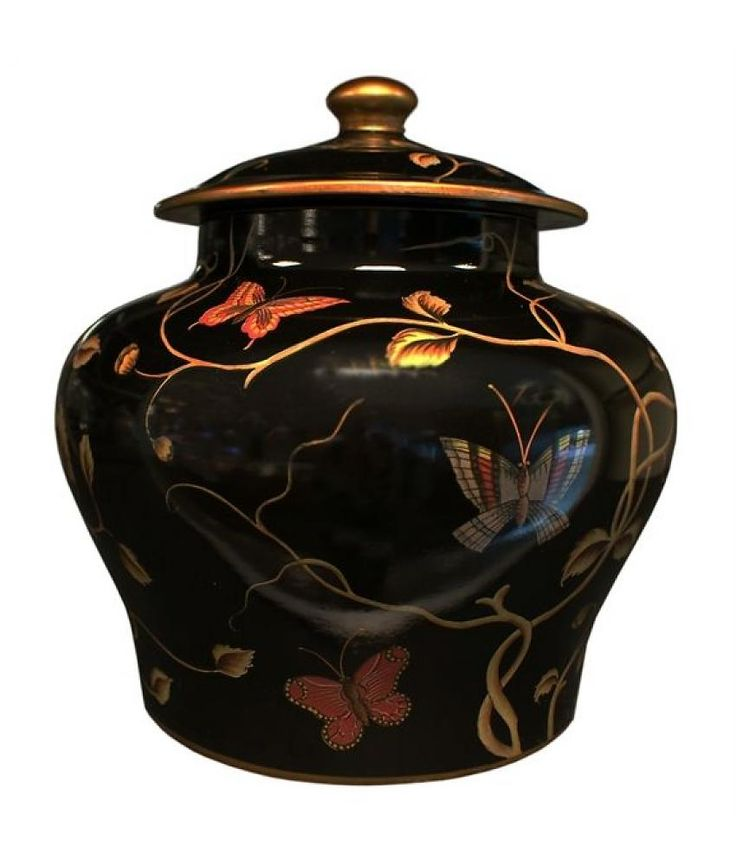Van Roon Living jar black butterfly 34.5x34.5x36.5 black