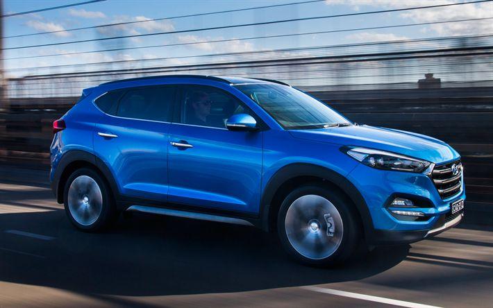 Download wallpapers Hyundai Tucson, 2017, light blue Tucson, crossovers, new Hyundai, Korean cars, Hyundai