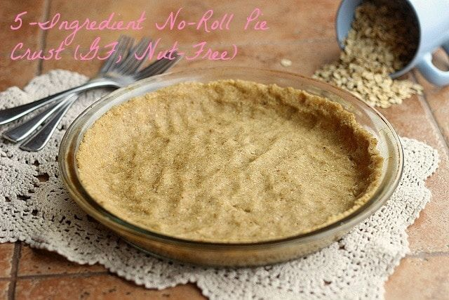 Only five ingredients needed to make this delicious and easy pie crust; made from oat flour and NO rolling required! Gluten-free and vegan.