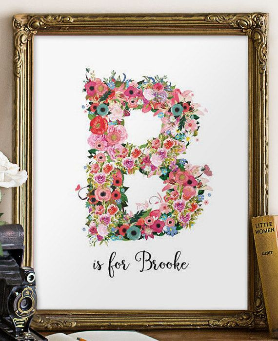 Personalized nursery wall art Floral monogram by TwoBrushesDesigns