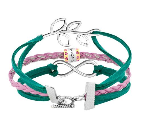 Pugster Vintage Iced Out Silver Infinity Life Tree Charm Pink Green Leather Bracelet. Show Your Friends A New Twist On Your Bracelet Look With Pugster's. Whether You Are Out On The Town, At An Intimate Family Gathering Or Simply At The Office, This Unique Bracelet Draw Envious Glances. http://www.zocko.com/z/JJvKN
