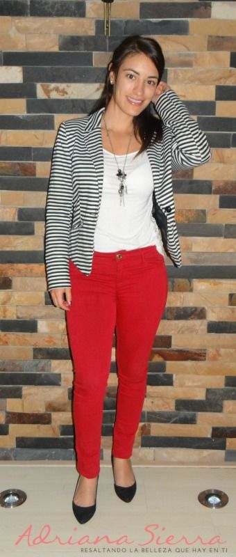 pantalon rojo con blanco | STYLE / FASHION en 2019 ...