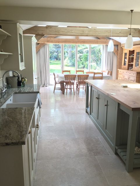 GORGEOUS Modern Country Kitchen!!...walls in Farrow and Ball Shaded White. Click through for details on Modern Country Style!