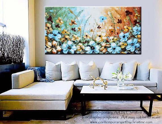 """Contemporary Fine #Art """"Something Blue"""" GICLEE PRINT Abstract Painting Blue Flowers Poppies modern floral wildflowers landscape palette knife mixed media acrylic painting canvas prints in shades of aqua gold rust green brown white. Gallery home decor wall art, xl LARGE sizes up to 60"""" - by Internationally Collected Artist, Christine Krainock - Contemporary Art by Christine"""