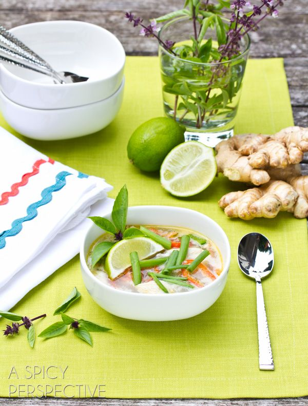 Spicy Thai Chicken Soup Recipe | ASpicyPerspective.com #soup #recipe #healthy #paleo #lowcarb