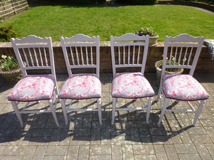 Adelaide at Home upholsters, updates and upcycles old furniture. Here we have four gorgeous chairs that we sprayed with Annie Sloan's 'Paloma' colour and upholstered in a romantic pink/grey toile.  Would make a statement in any conservatory, small kitchen or garden room. x