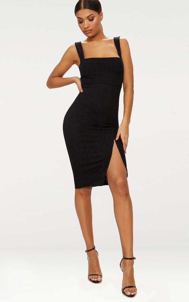 Black Bandage Bodycon Midi Dress