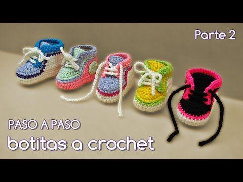 Cómo tejer zapatitos botitas escarpines bebé crochet, ganchillo - VARIOS TALLES (2/2) - YouTube