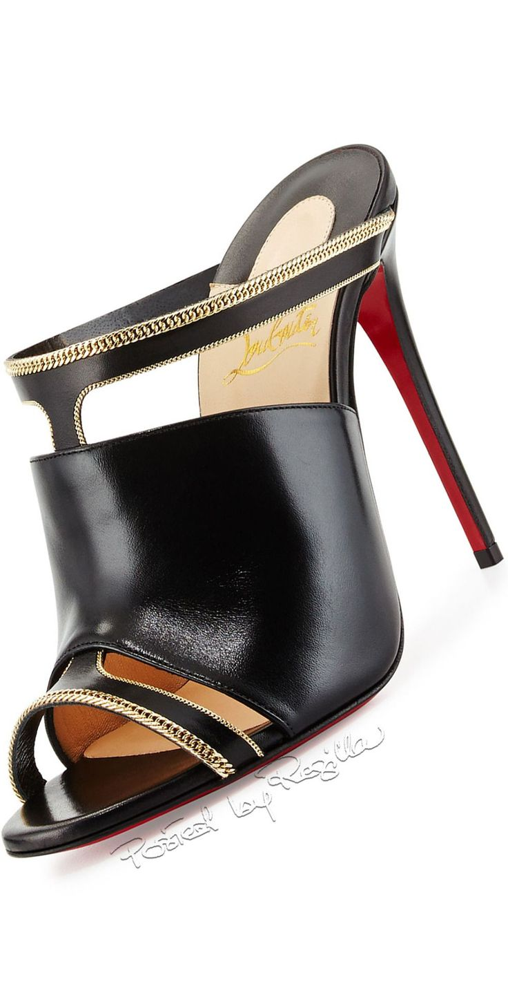 Christian Louboutin ~ Black Leather Mule w Gold Accents 2015 #christianlouboutingold