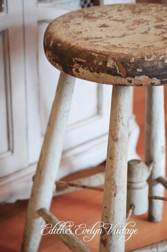 Vintage Milk Stool, Wood, Shabby Blue and Turquoise Paint ...