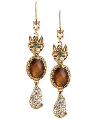 Betsey Johnson Gold-Tone Fox Drop Earrings