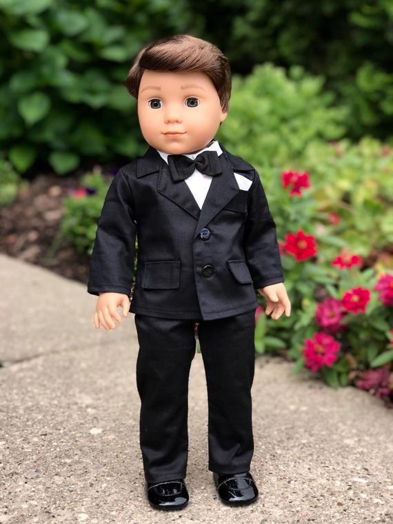 """WHITE Shirt BLACK Pants Tie Doll Clothes For 18/"""" American Girl Boy Logan Debs"""