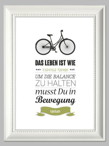 Das Leben ist wie Fahrrad fahren | Kunstdruck A4 von farbflut - ArtPrints auf DaWanda.com