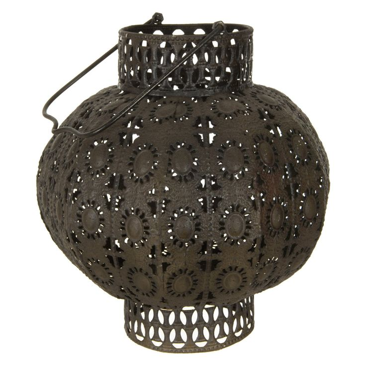 Oriental Furniture Wrought Iron Round Lantern   from hayneedle.com