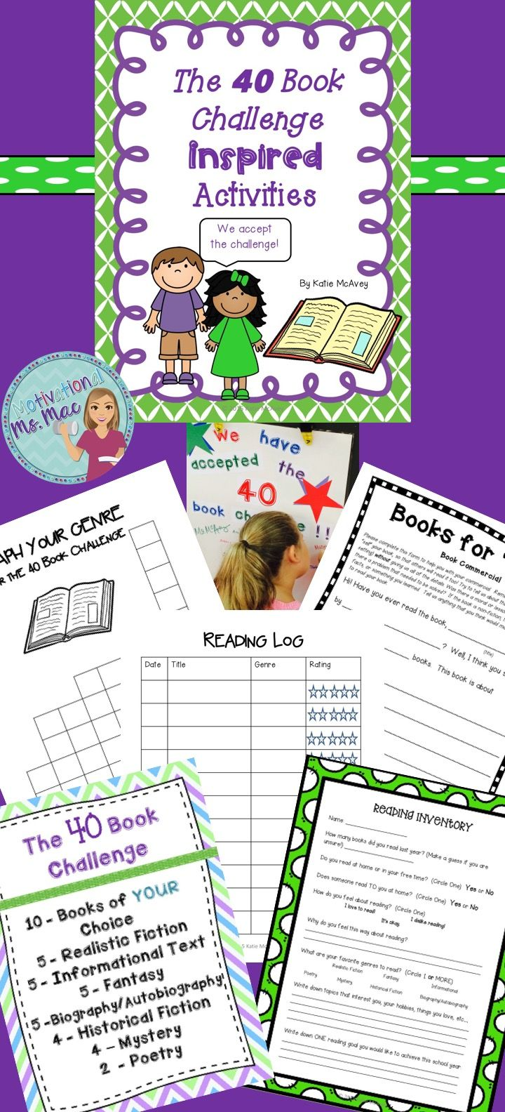 40 Book challenge inspired activities....Reading inventory, book commercial, reading log, graphing books, and words for classroom acceptance sign.