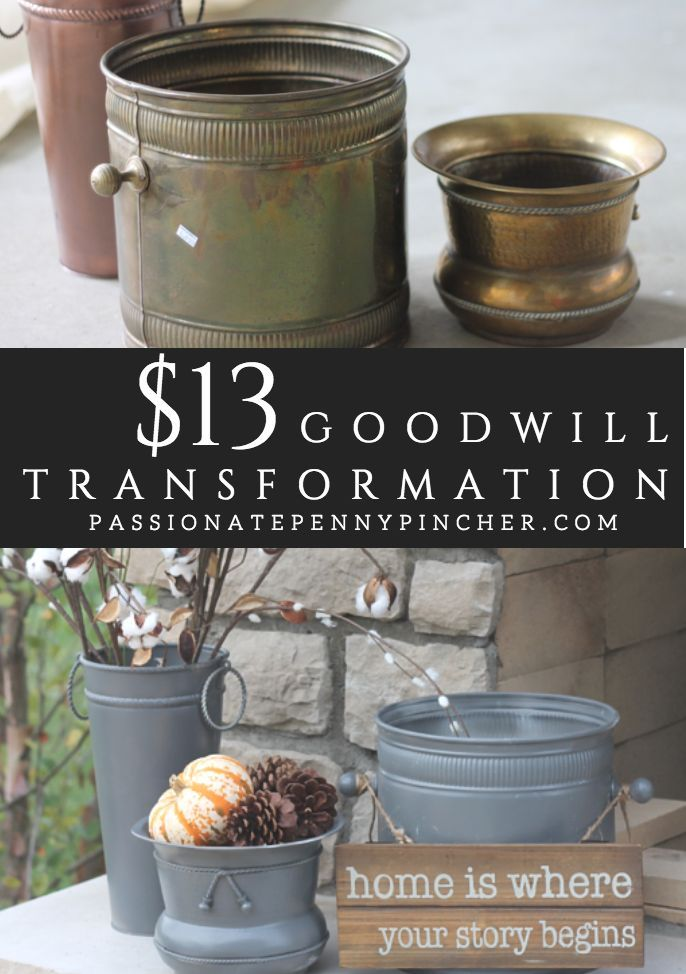 Thriftcycled Tin Buckets Painted And Used As Flower Pot Containers @PassionatePennyPincher