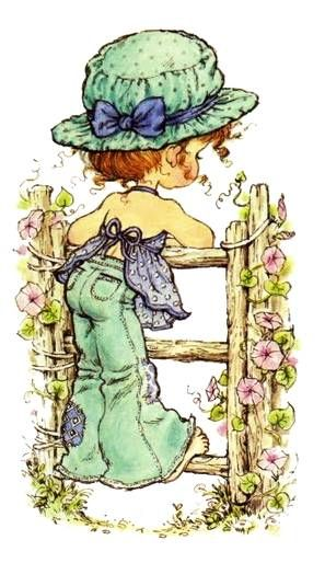Sarah Kay illustration girl on fence