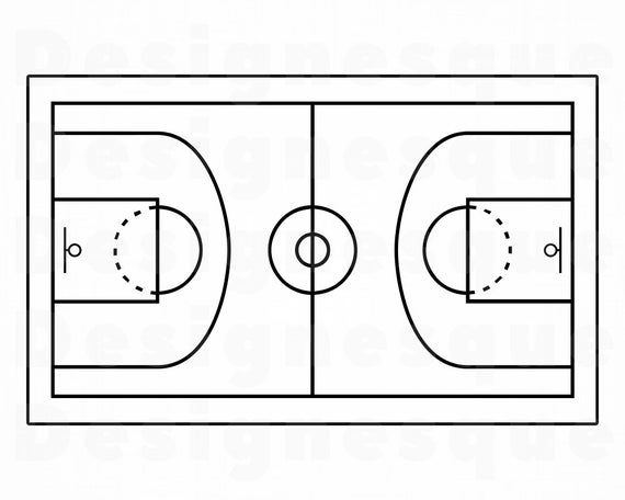 Basketball Court Outline Svg Basketball Svg Basketball Court Etsy In 2021 Svg Basketball Court Outline