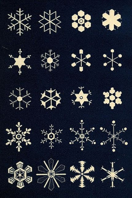 A plate from Snowflakes: a Chapter from the Book of Nature (1863), a collection of poems, extracts, anecdotes and reflections on theme of snow and the snowflake.