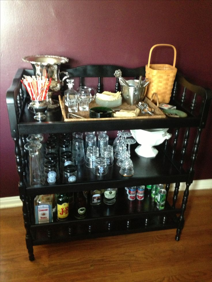 Baby changing table repurposed into a bar cause after a baby or two
