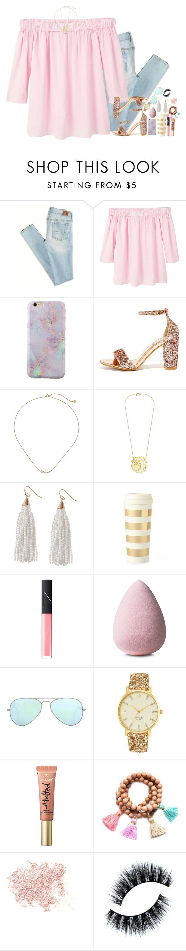 """""""hehe, spring set. --tag in desc."""" by sydneylawsonn ❤ liked on Polyvore featuring American Eagle Outfitters, MANGO, Bella Luna, Gorjana, Humble Chic, Kate Spade, NARS Cosmetics, Ray-Ban, Too Faced Cosmetics and Gold & Gray"""