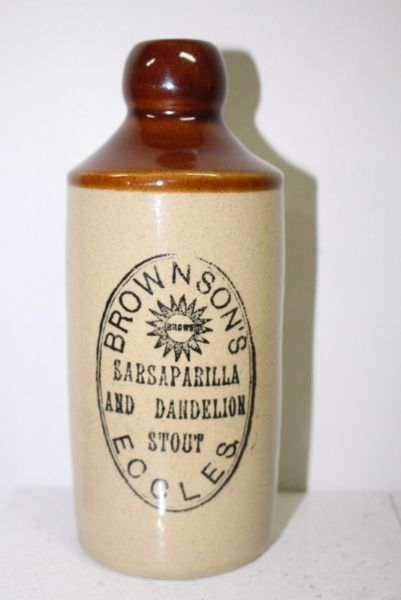 Vintage Brown & Sons sarsaparilla & dandelion stout stoneware bottle