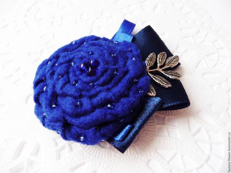 """Купить Брошь """"Ночное рандеву"""" - тёмно-синий, брошь, брошь ручной работы, брошь цветок"""