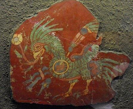 ce fragment de peinture murale montre un oiseau reconnu comme un quetzal au plumage vert avec. Black Bedroom Furniture Sets. Home Design Ideas