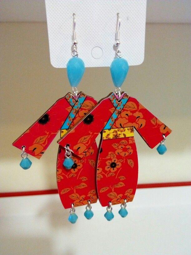 Geisha earrings handmade diy kimono