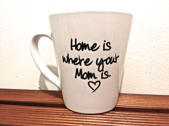 """Special Mom mug latte Coffee mug """"Home is where your mom is"""" Mothers day gift- Special MOM Quote"""