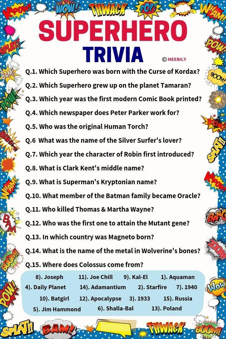 100 100 Superhero Trivia Questions Answers Meebily Trivia Questions And Answers Trivia Quiz Questions Fun Trivia Questions