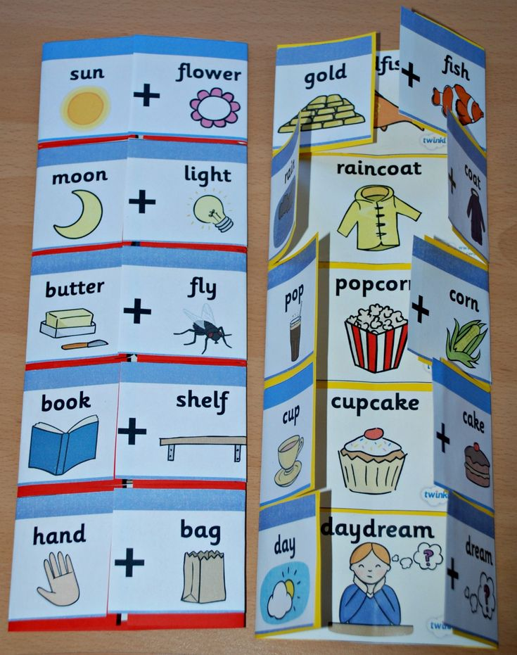 Compound word folders using Twinkl word cards.  Open up the flaps to see what the compound word is.  Great for reading and spelling